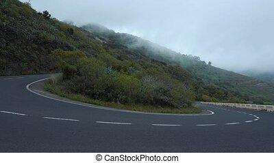 route, affichage montagne, niveau, nuage, virage