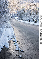 route, après, hiver, orage, glace