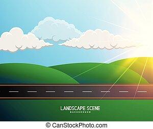 route, arrière-plan vert, paysage, dessin animé