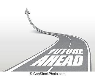 route, avenir, mots, autoroute, devant
