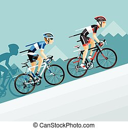 route, bicyclette course, homme, cyclistes, aller, groupe, ...