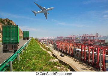 route, camion, récipient, port, transport