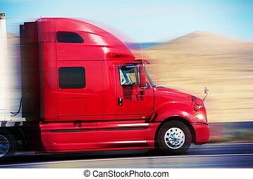 route, camion, rouges, semi