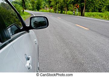 route, campagne, voiture, perspective, côté, vue postérieure