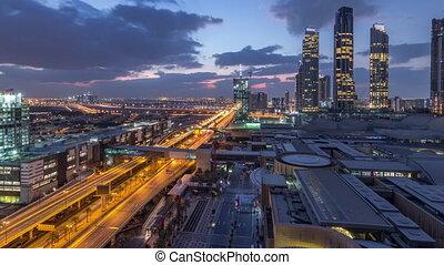 route, centre, aérien, bâtiment, nuit, construction, timelapse, vue, sous, jour, financier