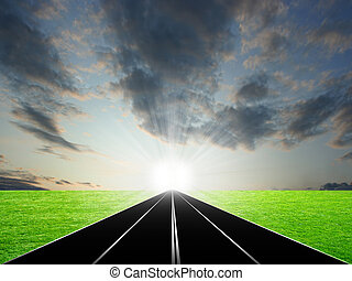 route - abstract scene car road under beautiful solar sky