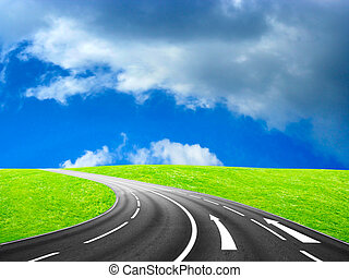 route - beautiful solar blue sky on country freeway