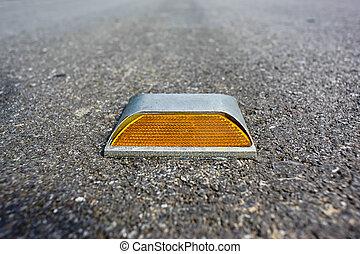 route, clou, jaune, réflecteur