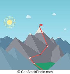 route., concept., alpinizm, wektor, osiągnięcie, gol