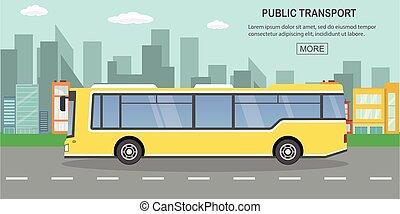 route, concept, autobus ville, public, vide, transport