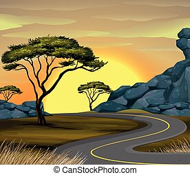 route, coucher soleil, scène, vide