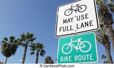 route, couloir, cycleway, parcours, bikeway, palm., style de vie, vélo, vélo, signpost., oceanside, pacifique, symbole, vert, enseigne, sécurité, touriste, récréation, usa., cyclisme, californie, resort., signe, sain