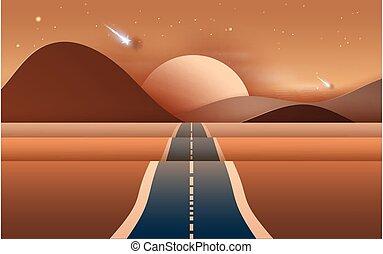route, découpage, travers, lumière, montagnes, été, métier, ...