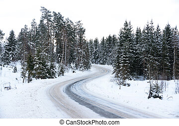 route, dans, hiver