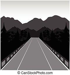 route, dans, montagne