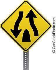 route divisée, signe