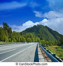 route on background celestial landscape