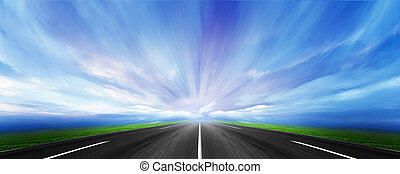 route - car way under beautiful sky