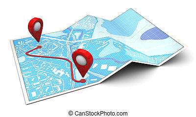 route - 3d illustration of map with route plan