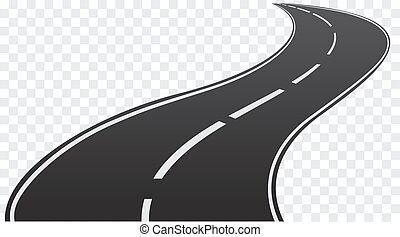 route enroulement, transparent, arrière-plan., isolé, vecteur