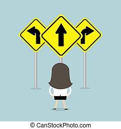 route, femme affaires, flèches, debout, trois, signe., manière