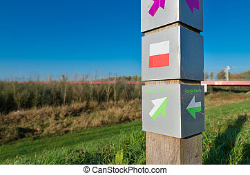 route, fiets, post, meldingsbord