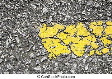 route, gros plan, ligne, texture, jaune