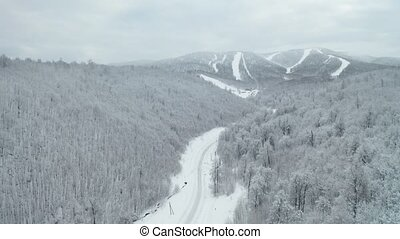 route, hiver, montagne