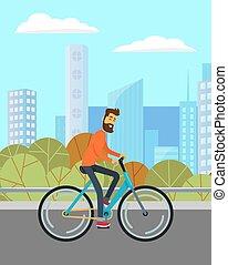 route, homme, vélo, paysage, parc, équitation, ville