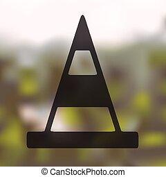 route, icône, cônes, fond, brouillé