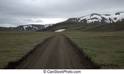 route, iceland., conduire, véhicule, terre, pays montagne, ...