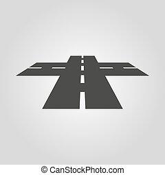 route, icon., parcours, carrefour, croisement, intersection, symbole., crossway, plat