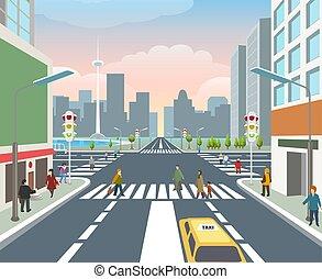 route, illustration, gens