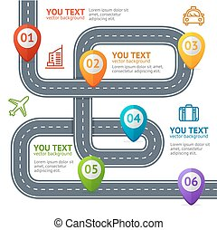 route, infographic, à, emplacement, marque, elements., vecteur