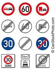 route, limite, vitesse, dépassement, signes, allemand