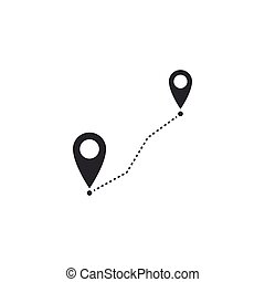 Route location icon isolated. Map pointer sign. Concept of path or road. GPS navigator. Flat design. Vector Illustration