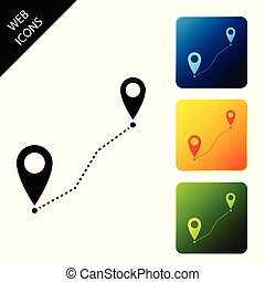 Route location icon isolated. Map pointer sign. Concept of path or road. GPS navigator. Set icons colorful square buttons. Vector Illustration