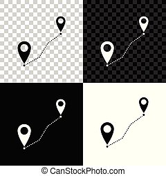 Route location icon isolated on black, white and transparent background. Map pointer sign. Concept of path or road. GPS navigator. Vector Illustration