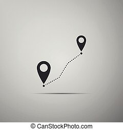 Route location icon isolated on grey background. Map pointer sign. Concept of path or road. GPS navigator. Flat design. Vector Illustration