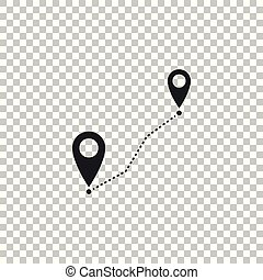 Route location icon isolated on transparent background. Map pointer sign. Concept of path or road. GPS navigator. Flat design. Vector Illustration