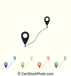 Route location icon isolated on white background. Map pointer sign. Concept of path or road. GPS navigator. Set elements in colored icons. Flat design. Vector Illustration