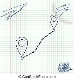 Route location line sketch icon isolated on white background. Map pointer sign. Concept of path or road. GPS navigator. Vector Illustration
