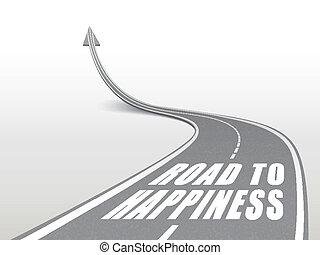 route, mots, autoroute, bonheur