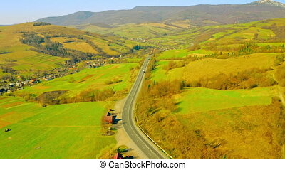 route mountains landscape - top view on road in countryside ...