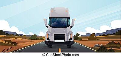 route, naturel, conduite, grand, livraison, contryside, vahicle, camion, caravane, devant, paysage, vue