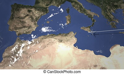 Route of a commercial plane flying to Algiers, Algeria on...