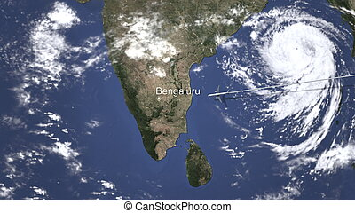 Route of a commercial plane flying to Bengaluru, India on the map, 3D rendering