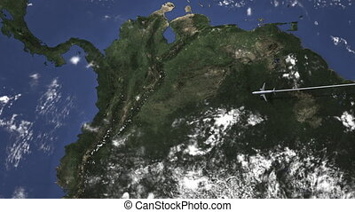 Route of a commercial plane flying to Bogota, Colombia on the map, 3D animation