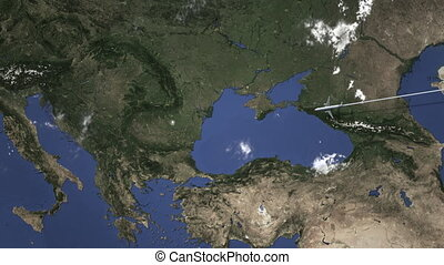 Route of a commercial plane flying to Bucharest, Romania on the map, 3D animation