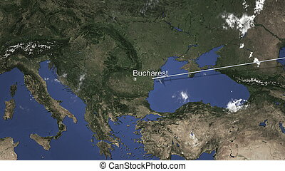 Route of a commercial plane flying to Bucharest, Romania on the map, 3D rendering